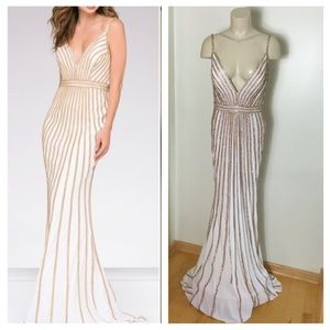 Dazzling Gold Rhinestone Beaded Prom Dress Jovani